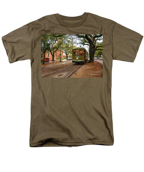 St. Charles Ave. Streetcar In New Orleans Men's T-Shirt  (Regular Fit) by Kathleen K Parker