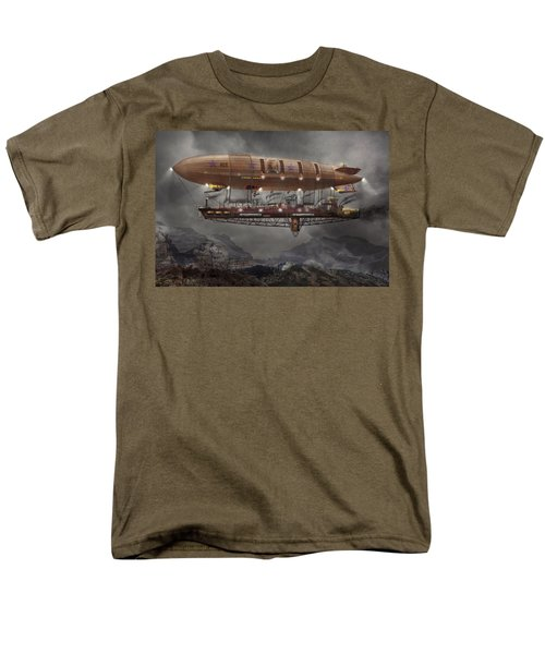Steampunk - Blimp - Airship Maximus  Men's T-Shirt  (Regular Fit) by Mike Savad