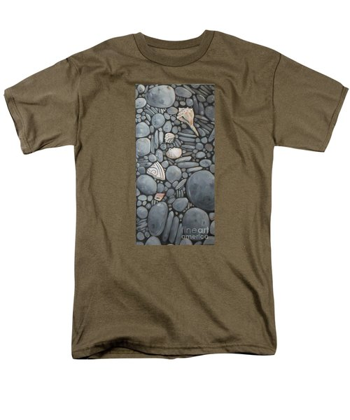 Stone Beach Keepsake Rocky Beach Shells And Stones Men's T-Shirt  (Regular Fit) by Mary Hubley