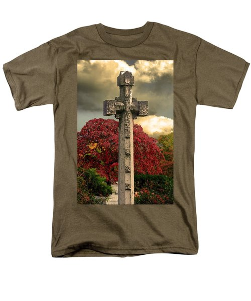Men's T-Shirt  (Regular Fit) featuring the photograph Stone Cross In Fall Garden by Lesa Fine