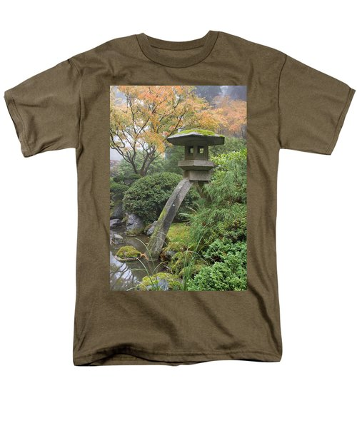 Men's T-Shirt  (Regular Fit) featuring the photograph Stone Lantern In Japanese Garden by JPLDesigns