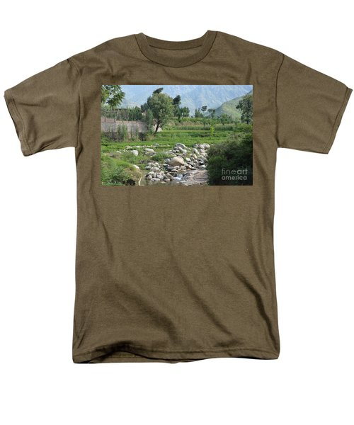 Men's T-Shirt  (Regular Fit) featuring the photograph Stream Trees House And Mountains Swat Valley Pakistan by Imran Ahmed