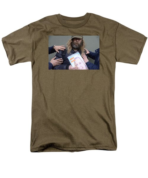 Men's T-Shirt  (Regular Fit) featuring the photograph Street People - A Touch Of Humanity 12 by Teo SITCHET-KANDA