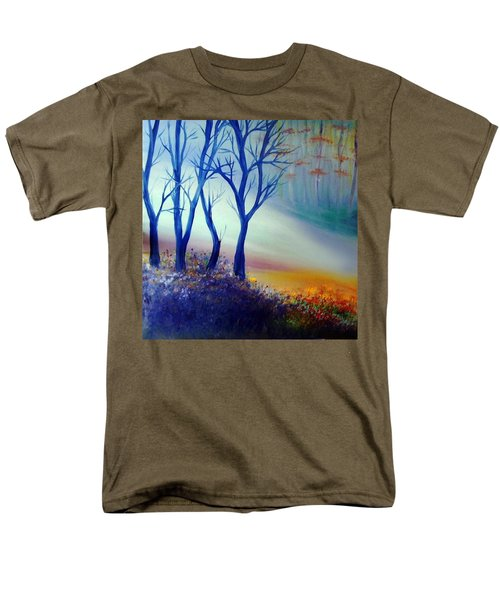 Men's T-Shirt  (Regular Fit) featuring the painting Sun Ray In Blue  by Lilia D