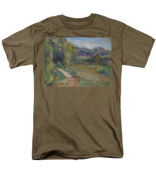 Sunny Morning In The Park -wetlands - Original - Textural Palette Knife Painting Men's T-Shirt  (Regular Fit) by Quin Sweetman