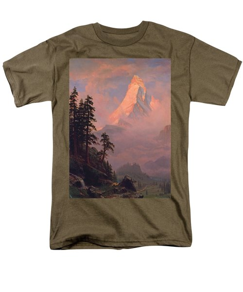 Sunrise On The Matterhorn Men's T-Shirt  (Regular Fit) by Albert Bierstadt