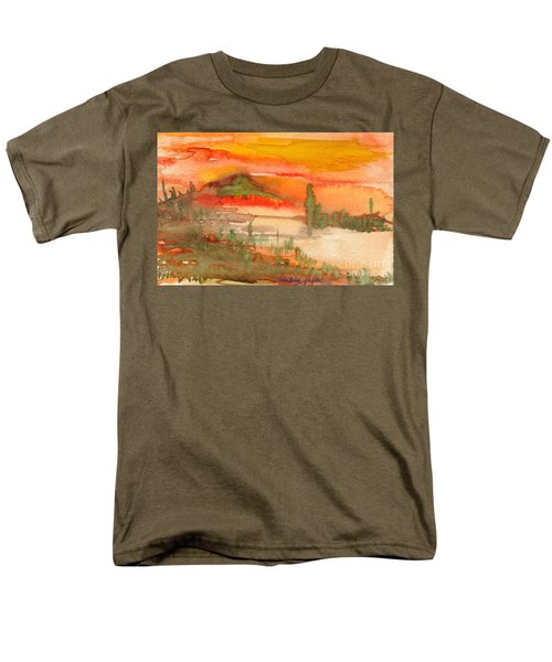 Men's T-Shirt  (Regular Fit) featuring the painting Sunset In Saguaro Desert  by Mukta Gupta