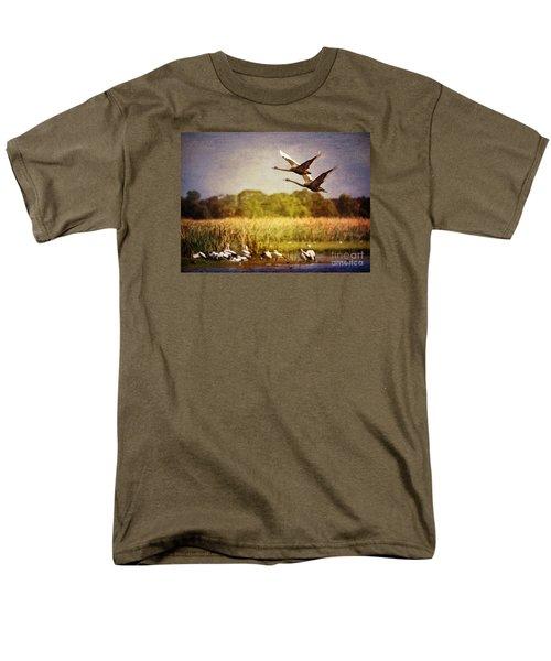 Swans In Flight Men's T-Shirt  (Regular Fit) by Kym Clarke