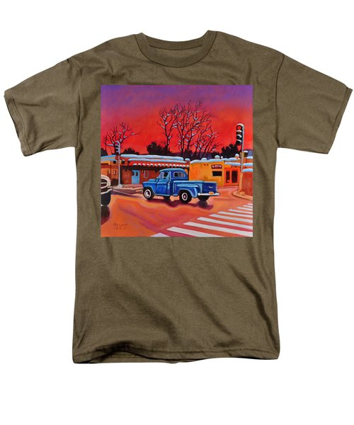 Men's T-Shirt  (Regular Fit) featuring the painting Taos Blue Truck At Dusk by Art West