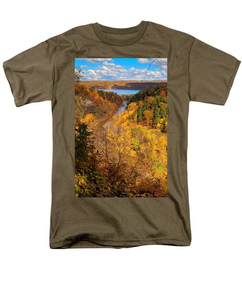 Men's T-Shirt  (Regular Fit) featuring the photograph Taughannock River Canyon In Colorful Fall Ithaca New York by Paul Ge