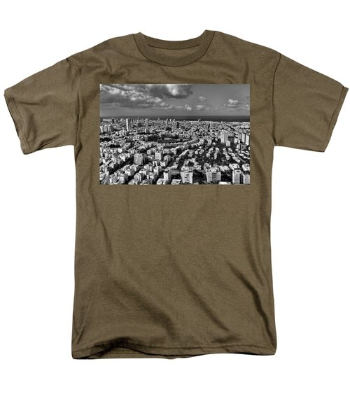 Men's T-Shirt  (Regular Fit) featuring the photograph Tel Aviv Center Black And White by Ron Shoshani
