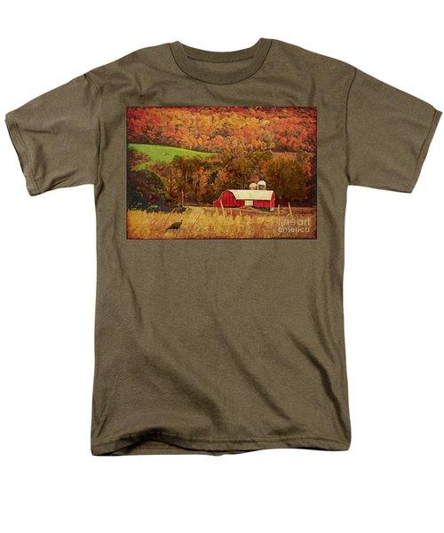 Men's T-Shirt  (Regular Fit) featuring the digital art The Autumn Barn by Lianne Schneider