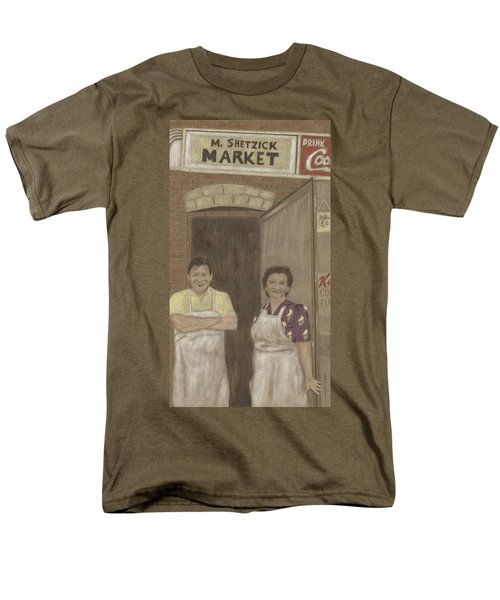 Men's T-Shirt  (Regular Fit) featuring the drawing The Butcher And His Wife  by Arlene Crafton