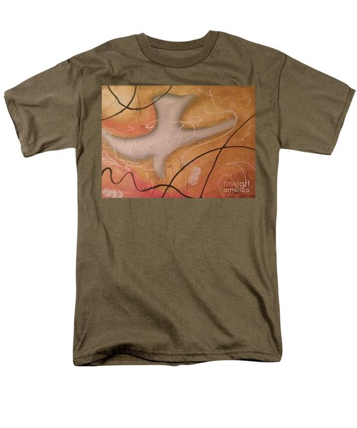 Men's T-Shirt  (Regular Fit) featuring the painting The Dove Religious Abstract Art By Saribelle  by Saribelle Rodriguez