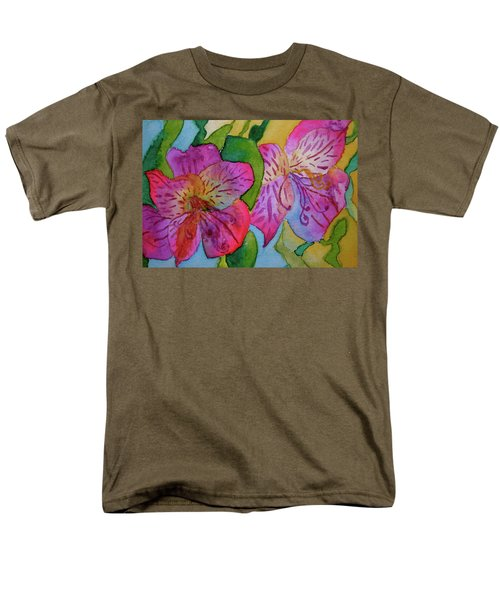 Men's T-Shirt  (Regular Fit) featuring the painting The Electric Kool-aid Alstroemeria Test by Beverley Harper Tinsley