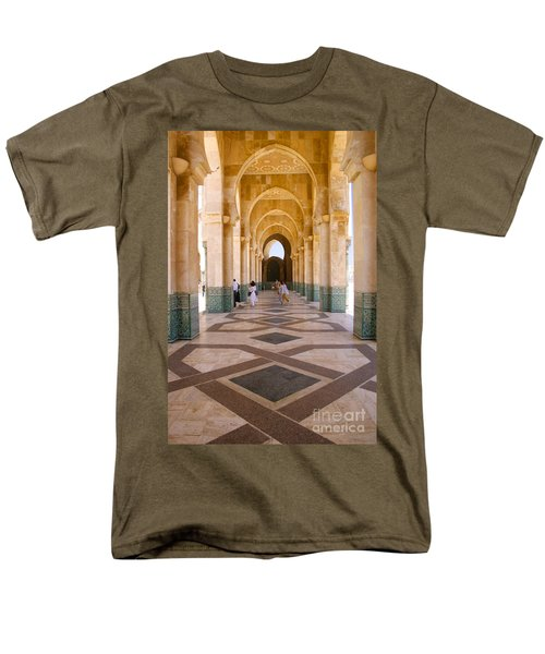 Men's T-Shirt  (Regular Fit) featuring the photograph The Massive Colonnades At The Hassan II Mosque Sour Jdid Casablanca Morocco by Ralph A  Ledergerber-Photography