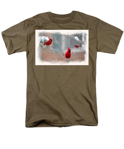 Three Cardinals In A Tree Men's T-Shirt  (Regular Fit) by Dan Friend