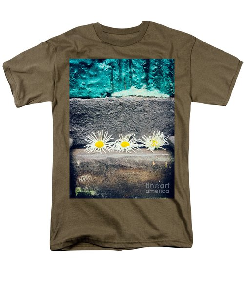 Men's T-Shirt  (Regular Fit) featuring the photograph Three Daisies Stuck In A Door by Silvia Ganora