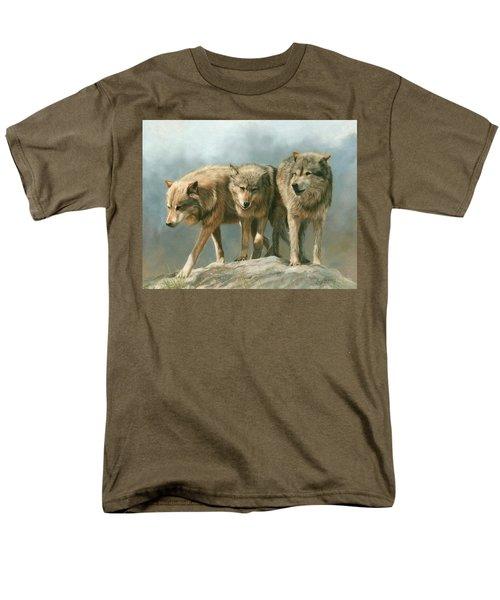 Three Wolves Men's T-Shirt  (Regular Fit) by David Stribbling