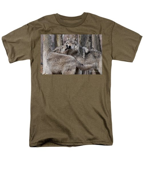 Men's T-Shirt  (Regular Fit) featuring the photograph Timber Wolves Playing by Wolves Only