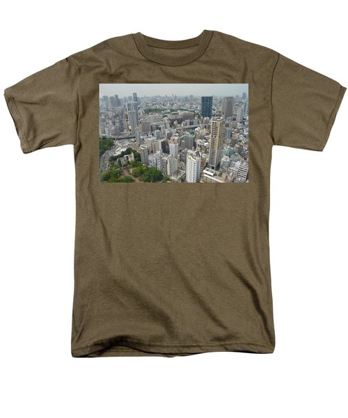 Tokyo Intersection Skyline View From Tokyo Tower Men's T-Shirt  (Regular Fit) by Jeff at JSJ Photography