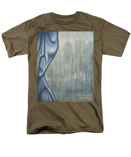 Men's T-Shirt  (Regular Fit) featuring the painting Tranquil Rain by Michael  TMAD Finney