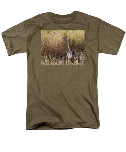 Men's T-Shirt  (Regular Fit) featuring the photograph Tricolored Heron Peeping Over The Rushes by John M Bailey