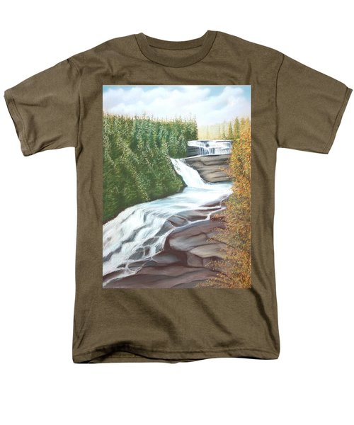 Men's T-Shirt  (Regular Fit) featuring the pastel Triple Falls by Stacy C Bottoms