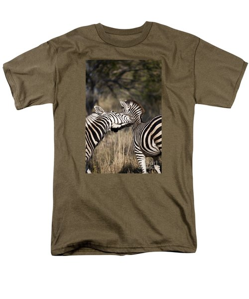 Men's T-Shirt  (Regular Fit) featuring the photograph Two Plains Zebra Botswana by Liz Leyden