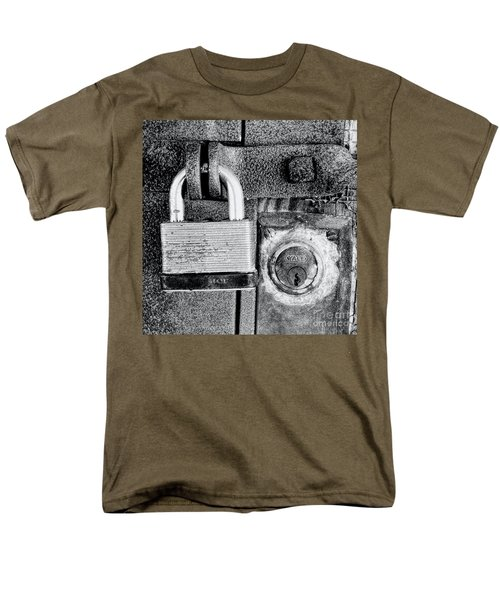 Two Rusty Old Locks - Bw Men's T-Shirt  (Regular Fit) by David Perry Lawrence