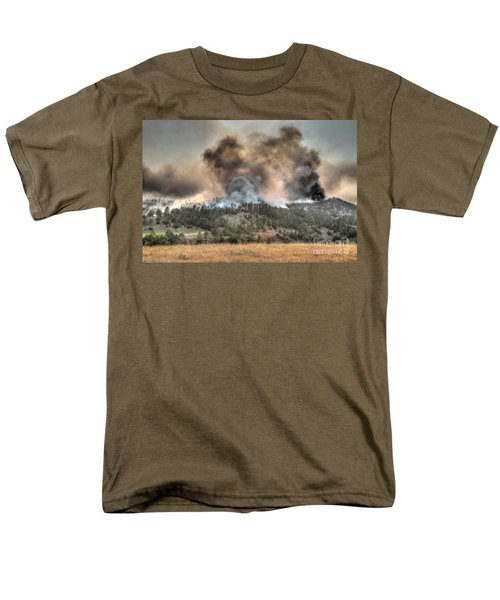 Men's T-Shirt  (Regular Fit) featuring the photograph Two Smoke Columns White Draw Fire by Bill Gabbert