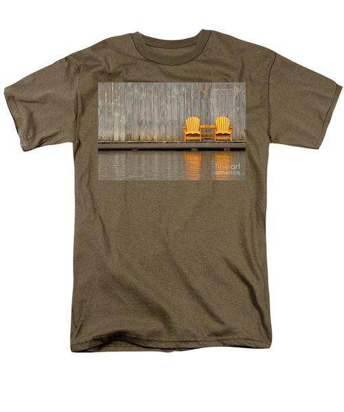 Two Wooden Chairs On An Old Dock Men's T-Shirt  (Regular Fit) by Les Palenik