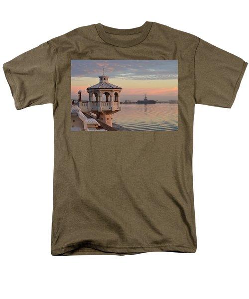 Uss Lexington At Sunrise Men's T-Shirt  (Regular Fit) by Leticia Latocki