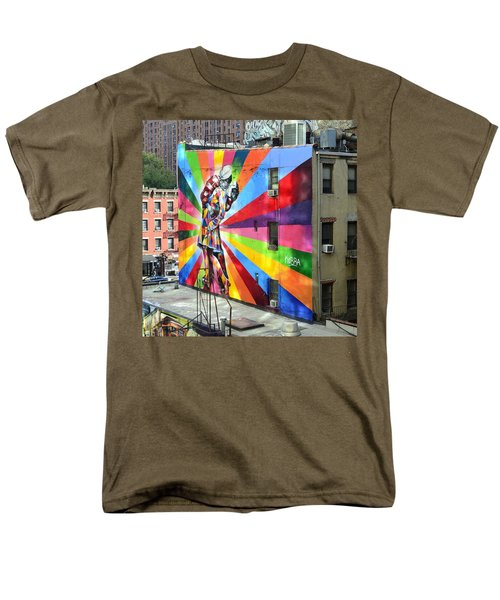 V - J Day Mural By Eduardo Kobra Men's T-Shirt  (Regular Fit) by Allen Beatty