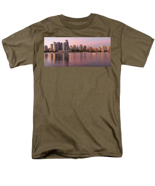 Men's T-Shirt  (Regular Fit) featuring the photograph Vancouver Bc Skyline Along False Creek At Dusk by JPLDesigns