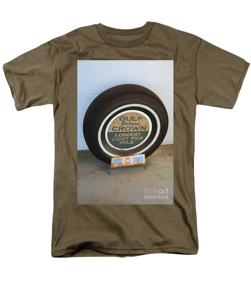 Men's T-Shirt  (Regular Fit) featuring the photograph Vintage Gulf Tire With Ad Plate by Lesa Fine