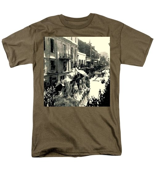 Men's T-Shirt  (Regular Fit) featuring the photograph New Orleans Vintage Mardi Gras In The French Quarter Of  Louisiana  1960 by Michael Hoard
