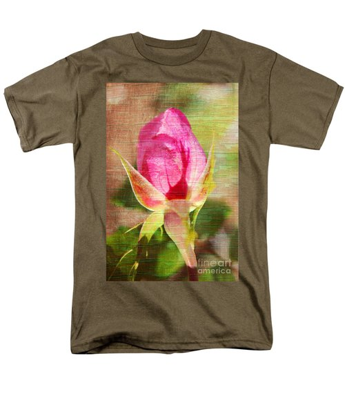 Men's T-Shirt  (Regular Fit) featuring the photograph Vintage Pink Rose Bud by Judy Palkimas
