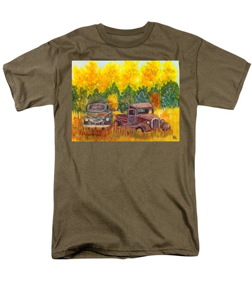 Men's T-Shirt  (Regular Fit) featuring the painting Vintage Trucks by Belinda Lawson