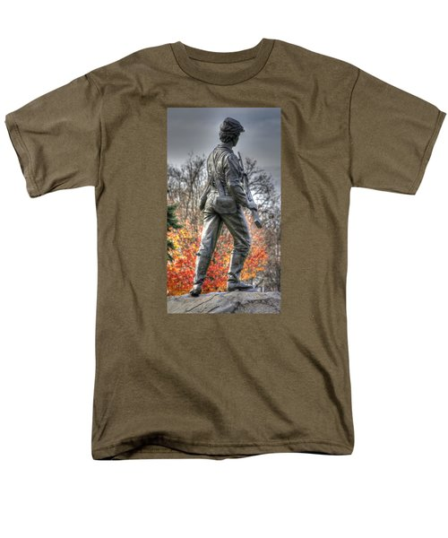 Men's T-Shirt  (Regular Fit) featuring the photograph War Fighters - 26th Pennsylvania Emergency Militia Infantry-b1 Defending The Town Of Gettysburg by Michael Mazaika