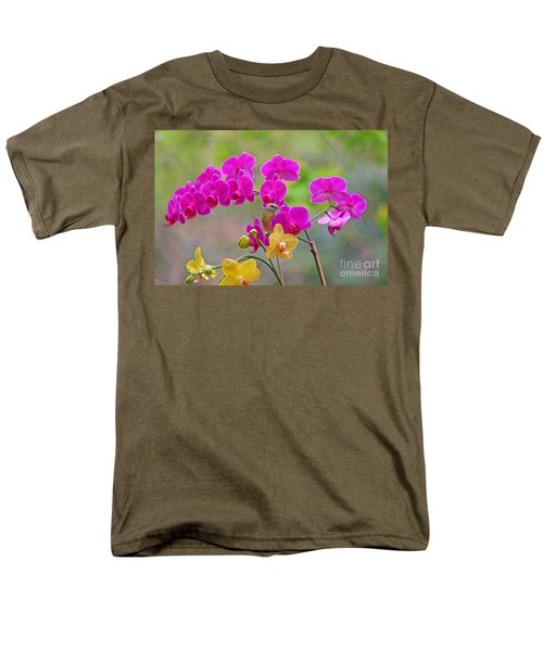 Men's T-Shirt  (Regular Fit) featuring the photograph Warbler Posing In Orchids by Luana K Perez