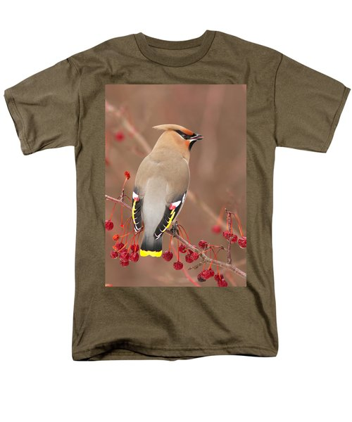 Waxwing In Winter Men's T-Shirt  (Regular Fit) by Mircea Costina Photography