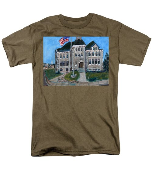 Men's T-Shirt  (Regular Fit) featuring the painting West Hill School In Canajoharie New York by Betty Pieper
