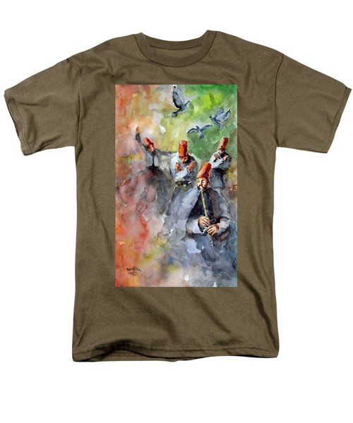 Men's T-Shirt  (Regular Fit) featuring the painting Whirling Dervishes And Pigeons         by Faruk Koksal