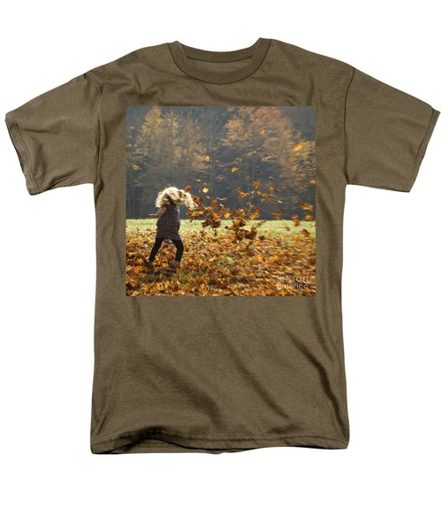 Men's T-Shirt  (Regular Fit) featuring the photograph Whirling With Leaves by Carol Lynn Coronios