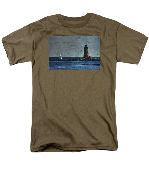 White Sails On Blue  Men's T-Shirt  (Regular Fit) by Jeff Folger