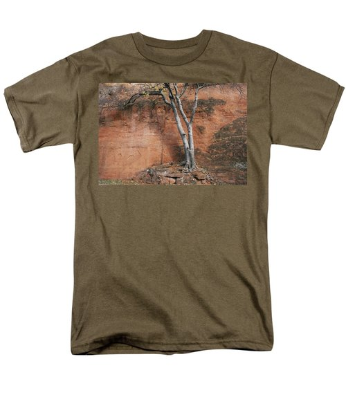 White Tree And Red Rock Face Men's T-Shirt  (Regular Fit)