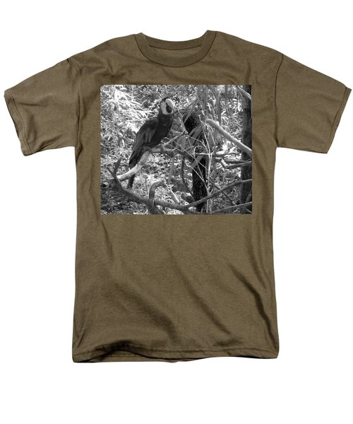 Men's T-Shirt  (Regular Fit) featuring the photograph Wild Hawaiian Parrot Black And White by Joseph Baril