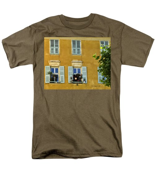 Men's T-Shirt  (Regular Fit) featuring the photograph Windowboxes In Nice France by Allen Sheffield