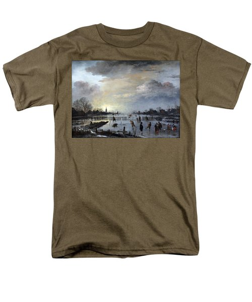 Men's T-Shirt  (Regular Fit) featuring the painting Winter Landscape With Skaters by Gianfranco Weiss